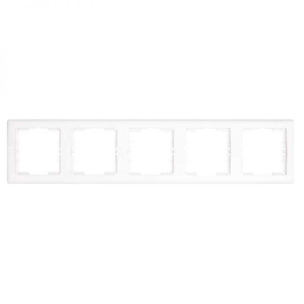 Πλαίσιο Διακοπτών Πενταπλό Οριζόντιο Λευκό Daria Mutlusan-6010195