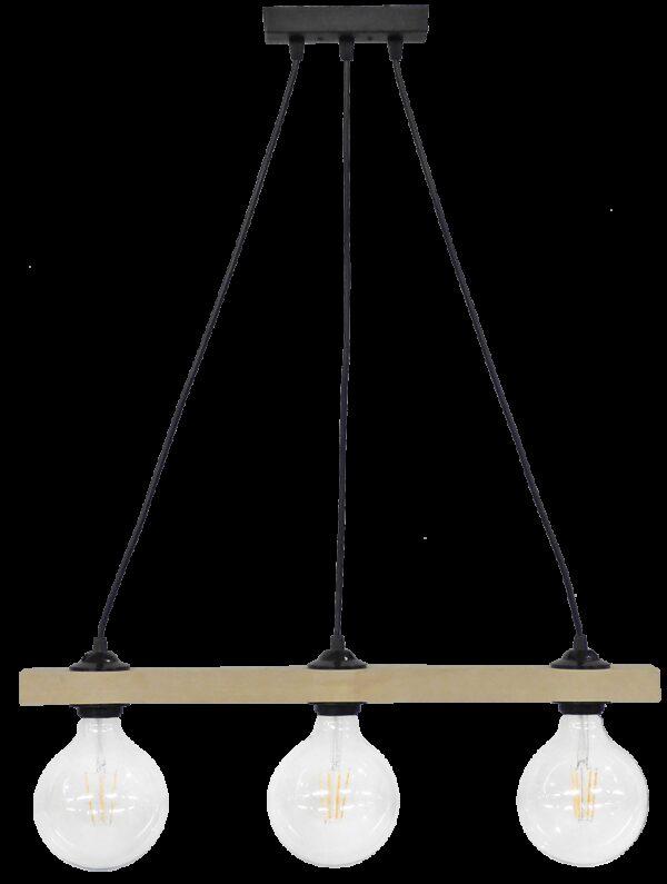 Ράγα μοντέρνο φωτιστικό Ε/27 RAGA 3L CABLE WOOD 31-1221