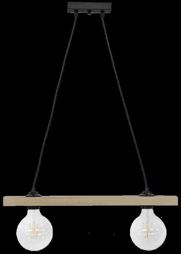 Ράγα μοντέρνο φωτιστικό Ε/27 RAGA 2L CABLE WOOD 31-1220