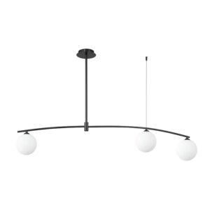 InLight Κρεμαστό φωτιστικό από μαύρο μέταλλο και λευκή οπαλίνα (6037-3)