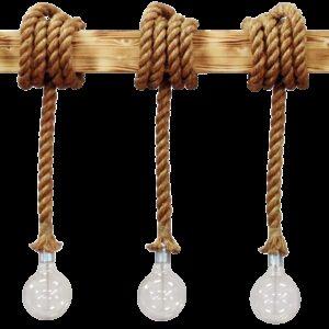 Φωτιστικό σχοινί - ξύλινη ράγα MR-10x10  3/L ROPE 31-0515